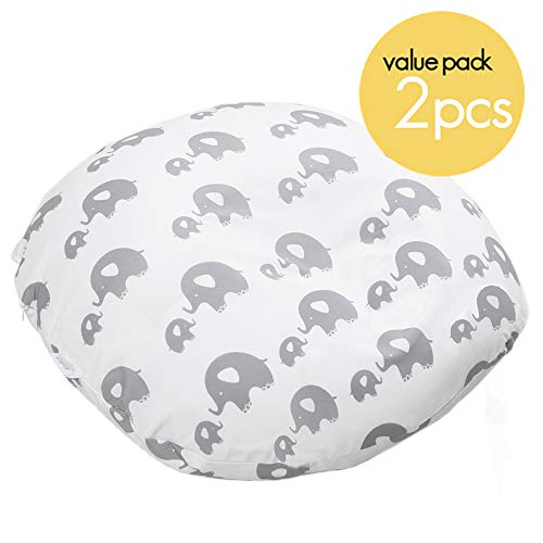 Water Resistant Removable Cover for Newborn Lounger | Compatible with Boppy Newborn Lounger | Value 2-Pack | Unisex Animal Designs | Premium Quality Soft Wipeable Fabric | Great Baby Shower Gift
