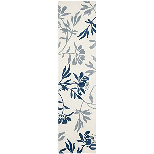 Safavieh Capri Collection CPR345A Handmade Ivory and Blue Premium Wool Runner (2'3'' x 9') by Safavieh