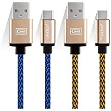 """JULAM USB Type C Cable Compatible Allview Soul X5 Pro 6.2"""" and More, 6.6ft USB A to C Charger (2-Pack) Nylon Braided Fast Charging Cord (Blue+Golden)"""