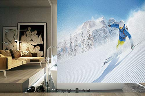 - Decorative Privacy Window Film/Skier Skiing Downhill in High Mountains Extreme Winter Sports Hobbies Activity Decorative/No-Glue Self Static Cling for Home Bedroom Bathroom Kitchen Office Decor