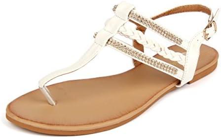02ce59ff556 MuDan Women s Strappy Rhinestones Thong Buckle Strap Gladiator Flat Sandals