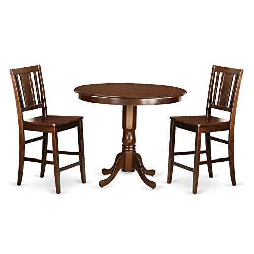 East West Furniture TRBU3-MAH-W 3 Piece Dinette Table and 2 Kitchen Bar Stool Set