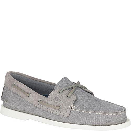 (Sperry Men's A/O 2-Eye Linen Boat Shoe Oxford, Grey, 7 M US)