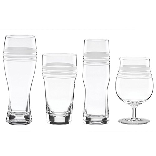kate spade new york Library Stripe 4-piece Variety Beer Glass Set by Lenox