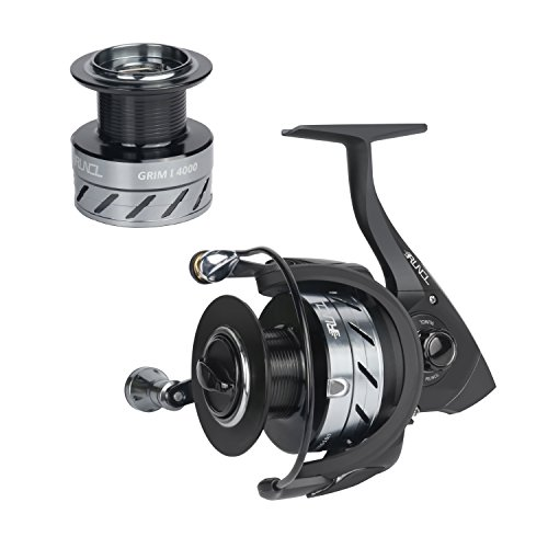 RUNCL Spinning Reel GrimⅠ4000, Fishing Reel with Spare Aluminum Alloy Spool Left/Right Interchangeable Handle 5.5:1 Gear Ratio 10+1 Ball Bearings for Freshwater Saltwater Boat Fishing (Black)