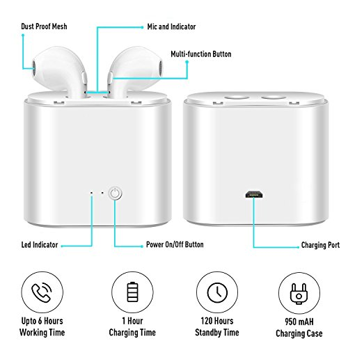 Wireless Headphone Bluetooth Headsets with Microphones Surround Sound Stereo for Running & Fitness Bluetooth 4.2 technology compatible with any phone and computer - Pure White by GJFeng Tech (Image #2)