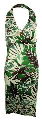 Jones New York Cotton Blend Exotic Floral Print Halter Dr...