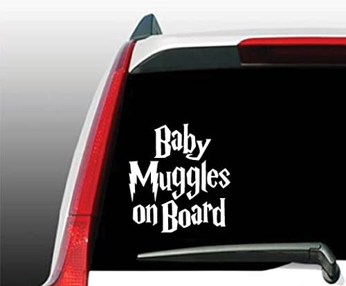 Baby Muggles on Board Sticker 5.5 White Decal