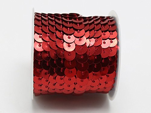 MINEJ - 5 Yards 6mm Flat Sequin Sew On Trim Strip Trim Lace Craft Costume Sewing Color # Red