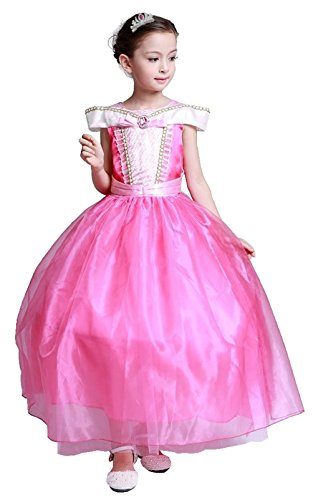 Cohaco Girl's Princess Costume Pink Party Dress with Tiara Clip (US 12) (Teen Sleeping Beauty Costumes)