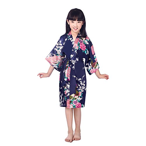 Awind Girls' Satin Kimono Wrap Robe Flower For Spa Party Christmas Dark Blue 8 for $<!--$12.00-->