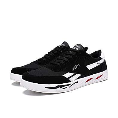 AUCDK Mens Canvas Shoes Black Size 39 Men Casual Plate Shoes Breathable Trainers Men Seasons Sneaker