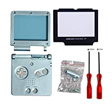 GBA SP Shell, Timorn Full Parts Housing Shell Pack Replacement for Nintendo GBA SP Gameboy Advance SP (Light Blue Pack)