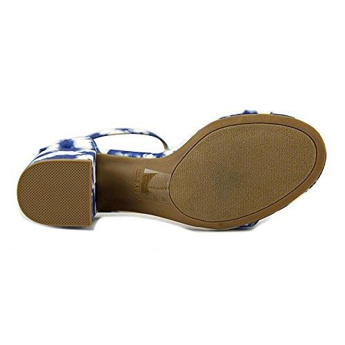 Chiamalo Primavera Donna Stangarone Open Toe Casual Sandali Cinturino Alla Caviglia Bianco / Blu Scuro