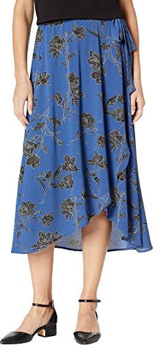 (Bobeau Women's Wrap Skirt Bubble Crepe Royal/Black Large)