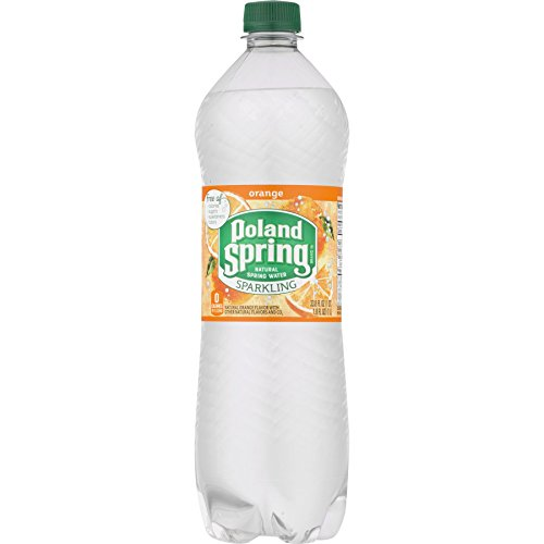 Poland Spring Sparkling Water, Orange 33.8-ounce plastic bottles, 12 Count