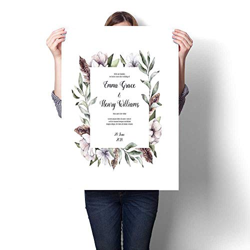 - Canvas Wall Art Hand drawn watercolor illustration - Floral frame Spring branches with anemone flowers and feathers Perfect for wedding invitations greeting cards certificates prints and more Art Sti