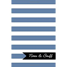 Notes & Stuff - Lined Notebook with Blue-Gray Striped Pattern Cover: 101 Pages, Medium Ruled, 6 x 9 Journal, Soft Cover