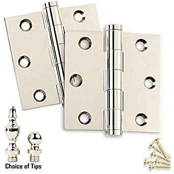 Door Hinges 3 x 3 Solid Brass Polished Chrome Architect Grade w// Tips Set of 2