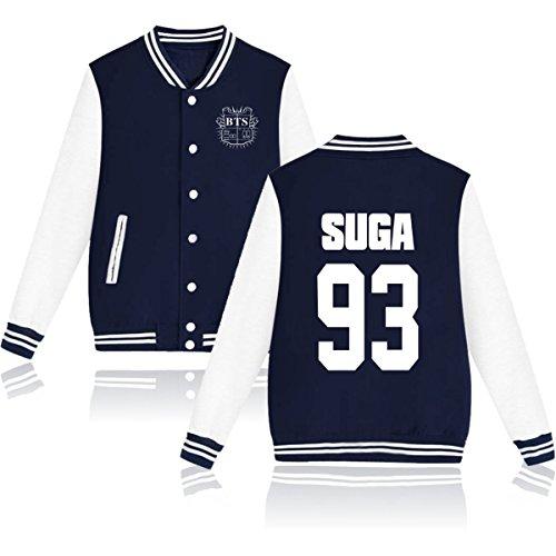 ATIWING BTS Bangtan boy J Hope V Logo JUNG Baseball Hoodie Sweater Jacket