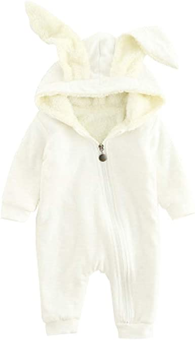 Ding-dong Baby Boys Girls Fleece Hooded Romper