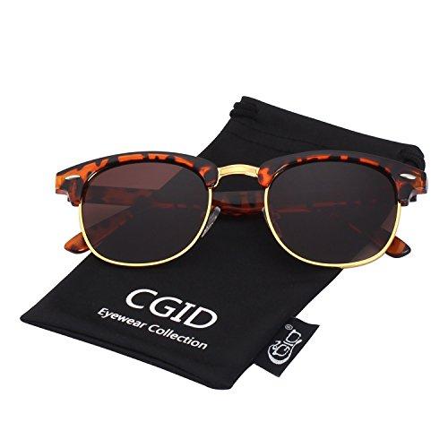 uv bans der beste preis amazon in savemoney escgid inspired half frame horn rimmed polarized sunglasses for men and women with metal rivets,