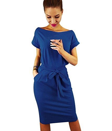 Ladies Camiseros Casual Casual Isshe Ceremonia Woman Shorts Playeros Casual Dress Daily Blue corte Dress Party Pretty Summer Elegante Dresses Maniche wqF8wTzgZ