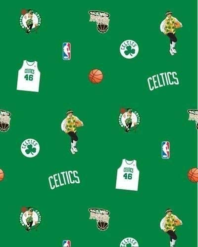 Amazon Com Fleece Not For Masks Boston Celtics Green Nba Basketball Print Fleece Fabric By The Yard A609 07