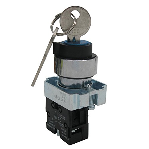 TWTADE / 22mm SPST 1 NO Two 2 - Positions Maintained Latching Key Lock Rotary Select Selector Switch 440V 10A (Quality Assurance for 3 Years) XB2-10Y/21