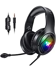 Gaming Headset with Mic for PS4 PS5 Xbox one PC, RGB Stereo Gamer Headphones with Noise Cancelling Microphone, in Line Control Surround Wired Over Ear Headphones 3.5mm for Switch Computer Laptop