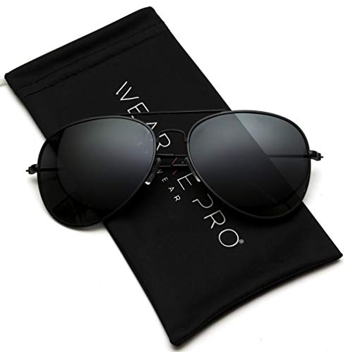 WearMe Pro - Polarized Metal Frame Pilot Style Aviator Sunglasses (Full Black, 60) (Pilot For Sunglasses Women)