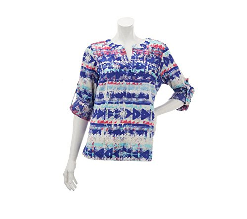 Lisa Rinna Collection Printed Blouse With Roll Tab Sleeves