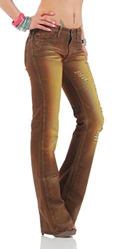 Fornarina Damen Jeans Braun Brown ATTITUDE DENIM PANT Cotton Destroyed Löcher Used Vintage Leder Optik Rock Star Bootcut Schlag Hose Schlagjeans