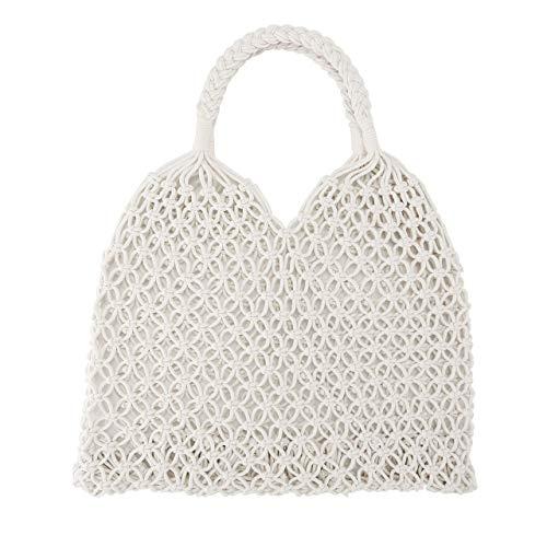- Ayliss Handmade Straw Bag Travel Beach Fishing Net Handbag Shopping Woven Shoulder Bag for Women/Girls (White)