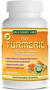 Turmeric Supplement with Curcumin - 60 Turmeric Capsules - Full Spectrum, Containing 50mg Turmeric Extract Standardized to 95% Curcuminoids with 450mg Ground Turmeric Root Powder