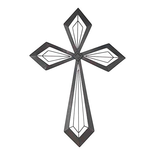 Geometric Cross With Diamond Shape Center Onyx 16.5 x 24 Metal Wall Sign Plaque