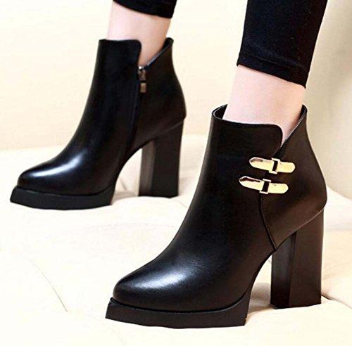 Tamaño Botas Martin OL Zipper Eu Botines 40 botón Talón Mujeres Moda 9 grueso Shoes metal Court cm puro del pie grueso Boots del Black Color 34 WcBT8