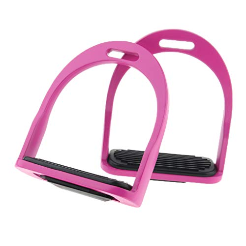 (CUTICATE Equestrian Stirrups, Horse Riding Safety Bendy Iron Steel Stirrups with Anti Slip Rubber Treads - Rose Red)