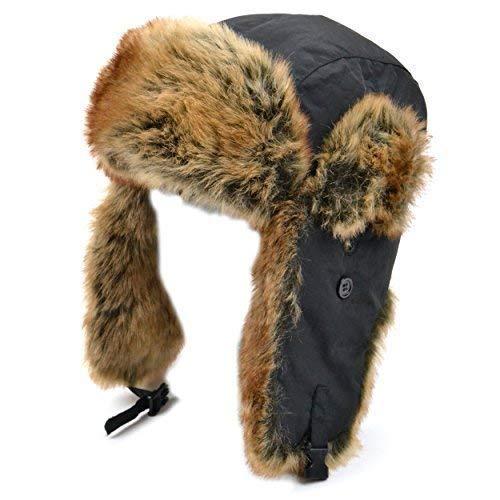 incroyable sélection style de la mode de 2019 Meilleure vente VIZ Bonnet de trappeur en nylon noir avec bordure en fausse ...