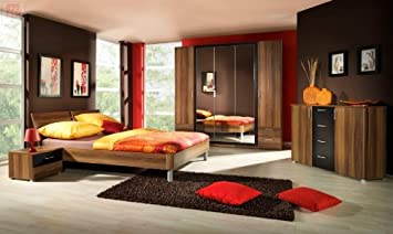 Schlafzimmer Mit Bett 180 X 200 Cm Kernnuss Rot Schwarz Amazon De