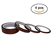 Ogrmar 3MM, 6MM, 12MM, 25MM High Temp Tape Kapton Polyimide High Temperature Resistant Tape with Silicone Adhesive for Masking, Soldering etc Pack of 4 (4)