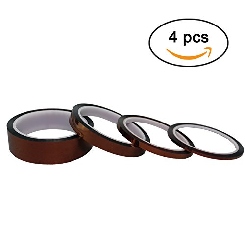 Temp Press (Ogrmar 3MM, 6MM, 12MM, 25MM High Temp Tape Kapton Polyimide High Temperature Resistant Tape with Silicone Adhesive for Masking, Soldering etc Pack of 4 (4))