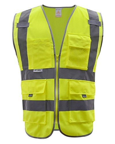 - Fangfang High Visibility Safety Vest 4 Pockets Class 2 High Visibility Zipper Front Safety Vest With Reflective Strips, 2 Bonus Reflective Bands Included, Neon Yellow Meets ANSI/ISEA Standards (M)