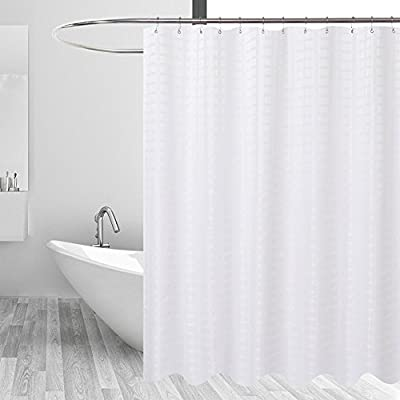 Barossa Design Fabric Shower Curtain White Hotel Grade, Water Repellent, Machine Washable, 71 x 72 inches Brick Geometric Dobby Pattern for Bathroom - Serve Well: Made with water-repellent fabric and good for long-lasting use Hotel Grade: High-quality polyester cloth, pvc-free,baby attachable, no chemical coating, no fading, no dyes Durable: 12 rust proof metal grommets with a reinforced top-header - shower-curtains, bathroom-linens, bathroom - 41X7GkaGQbL. SS400  -
