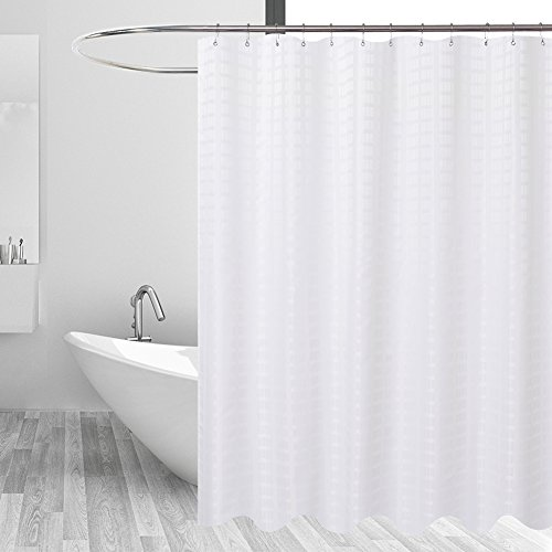 41X7GkaGQbL - Barossa Design Fabric Shower Curtain White - Hotel Grade, Water Repellent and Mildew Resistant, Washable - 71 x 72 inches - Brick Dobby Pattern for Bathroom