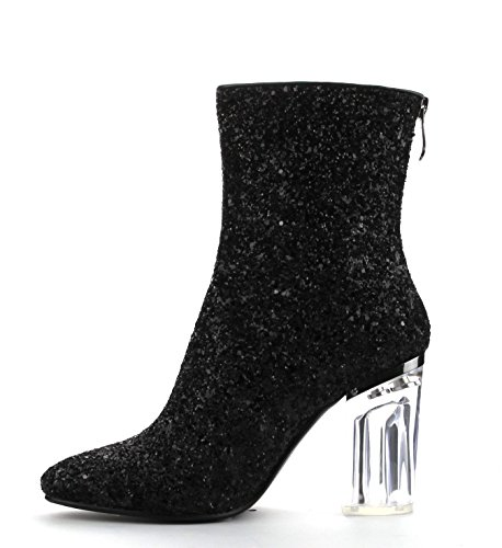 Glitter Glass Black Boot frontin Stretch No ROBBIN CAPE Exclusive TAMMYS Heel Ankle nPTOfBpwW