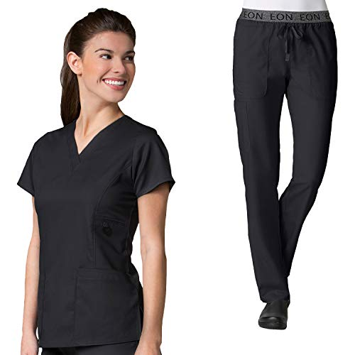 Maevn Eon Women's Active V-Neck Pocket Scrub Top & Embroidered Logo Scrub Pant Set ()