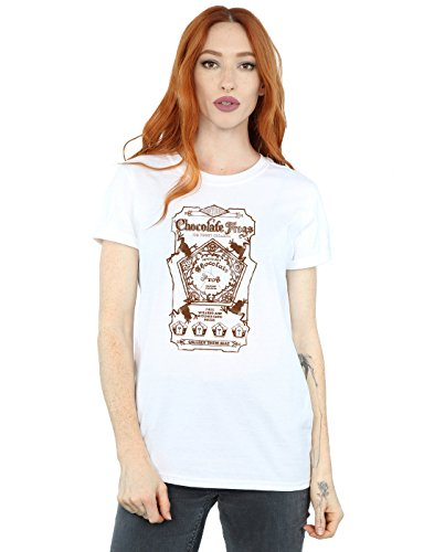 HARRY POTTER Women's Chocolate Frogs Mono Label Boyfriend Fit T-Shirt Large White