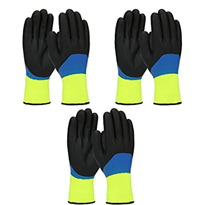 PIP G-Tek 41-1415 Mens / Womens Warm Thermal Waterproof Cold Weather Winter Work Gloves - Double Dipped Nitrile Coated (3/PACK)
