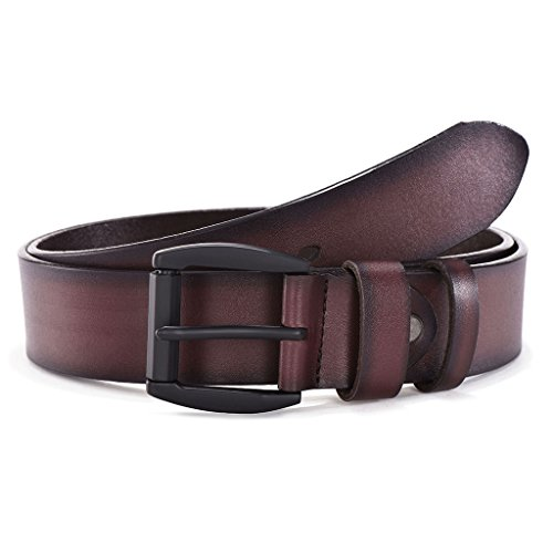 Men's Genuine Leather Belt - Classic & Vintage Designs - Single Buckle With Gift Box by Melrtrich (Waist 30-36, Style 1)